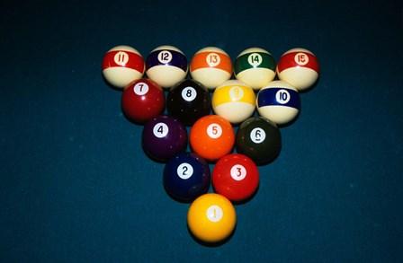 Billiard Balls Racked Up On Pool Table by Vintage PI art print