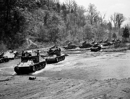 1940s World War Ii 12 Us Army Armored Tanks by Vintage PI art print
