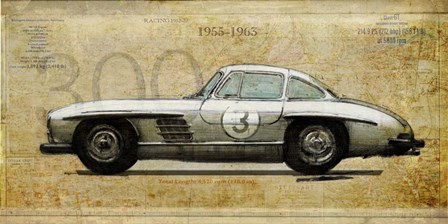 Mercedes 300SL by Sidney Paul and Co. art print