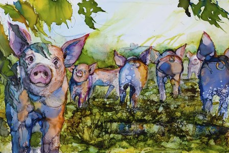 Pig Tales by Art by Leslie Franklin art print
